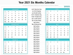Year 2021 Six Months Calendar Ppt PowerPoint Presentation File Guidelines PDF