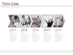 Year Based Photo Arrow Design Timeline Powerpoint Slides