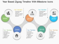 Year Based Zigzag Timeline With Milestone Icons Powerpoint Template