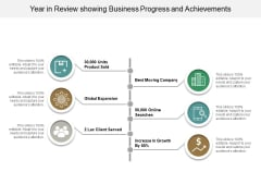 Year In Review Showing Business Progress And Achievements Ppt PowerPoint Presentation Layouts Example