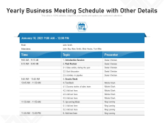 Yearly Business Meeting Schedule With Other Details Ppt PowerPoint Presentation Gallery Microsoft PDF