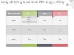 Yearly Marketing Team Goals Ppt Images Gallery