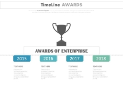 Yearly Timeline Diagram For Enterprise Award Powerpoint Slides