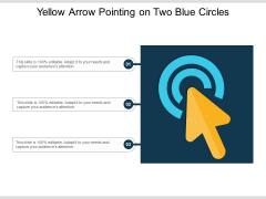 Yellow Arrow Pointing On Two Blue Circles Ppt PowerPoint Presentation File Summary PDF