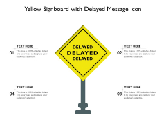 Yellow Signboard With Delayed Message Icon Ppt PowerPoint Presentation Show Slide PDF