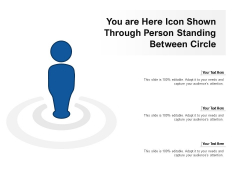 You Are Here Icon Shown Through Person Standing Between Circle Ppt PowerPoint Presentation Summary Layout Ideas