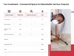 Your Investment Commercial Space For Extermination Services Proposal Ppt PowerPoint Presentation Show Slide Download