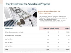 Your Investment For Advertising Proposal Ppt File Infographics PDF