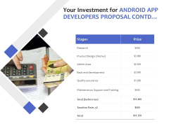 Your Investment For Android App Developers Proposal Contd Ppt PowerPoint Presentation Gallery Grid