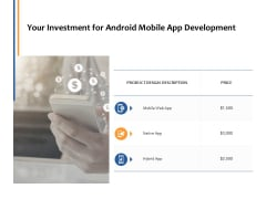 Your Investment For Android Mobile App Development Ppt PowerPoint Presentation Outline Ideas