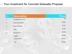 Your Investment For Concrete Sidewalks Proposal Ppt PowerPoint Presentation Show Samples