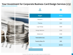 Your Investment For Corporate Business Card Design Services Logo Design Template PDF