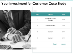 Your Investment For Customer Case Study Ppt PowerPoint Presentation Show Guide