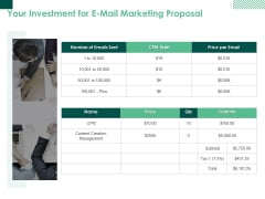 Your Investment For E Mail Marketing Proposal Ppt PowerPoint Presentation Ideas Designs