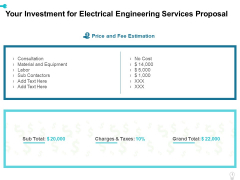 Your Investment For Electrical Engineering Services Proposal Ppt Professional Aids PDF