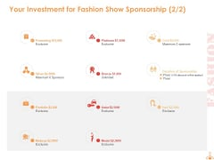 Your Investment For Fashion Show Sponsorship Marketing Ppt PowerPoint Presentation Portfolio Graphics Example