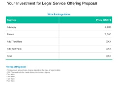 Your Investment For Legal Service Offering Proposal Ppt PowerPoint Presentation Pictures Background Images
