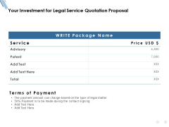 Your Investment For Legal Service Quotation Proposal Ppt PowerPoint Presentation File Inspiration