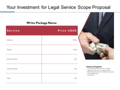 Your Investment For Legal Service Scope Proposal Ppt PowerPoint Presentation Summary Slideshow