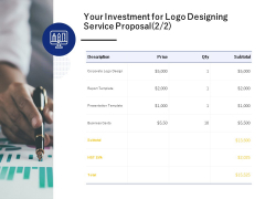 Your Investment For Logo Designing Service Proposal Corporate Ppt PowerPoint Presentation Pictures Slideshow