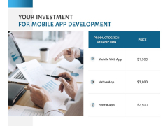 Your Investment For Mobile App Development Ppt PowerPoint Presentation Gallery Show