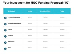 Your Investment For NGO Funding Proposal Training Ppt PowerPoint Presentation Infographic Template Deck