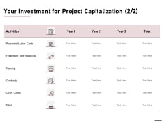Your Investment For Project Capitalization Labor Ppt Outline Rules PDF