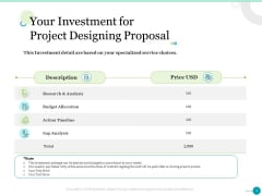 Your Investment For Project Designing Proposal Ppt Slides Clipart Images PDF