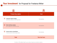 Your Investment For Proposal For Freelance Writer Ppt PowerPoint Presentation Model Graphics PDF