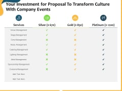 Your Investment For Proposal To Transform Culture With Company Events Ppt Pictures Slides PDF