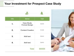 Your Investment For Prospect Case Study Ppt PowerPoint Presentation Pictures Model