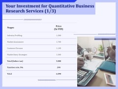 Your Investment For Quantitative Business Research Services Price Ppt PowerPoint Presentation Model Show PDF