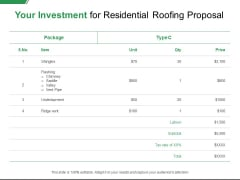 Your Investment For Residential Roofing Proposal Ppt PowerPoint Presentation Outline Graphics Pictures