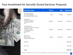 Your Investment For Security Guard Services Proposal Topics PDF