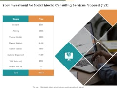 Your Investment For Social Media Consulting Services Proposal Ppt File Model PDF