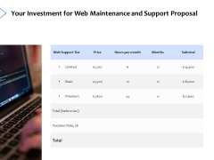 Your Investment For Web Maintenance And Support Proposal Ppt PowerPoint Presentation Ideas Graphics Download