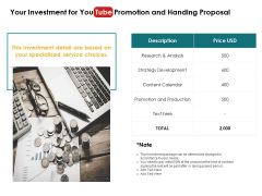 Your Investment For You Tube Promotion And Handing Proposal Development Ppt PowerPoint Presentation Pictures Designs