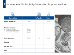 Your Investment In Publicity Generation Proposal Services Ppt PowerPoint Presentation Professional Outline