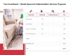 Your Investment Rental Space For Extermination Services Proposal Ppt PowerPoint Presentation Slides Display