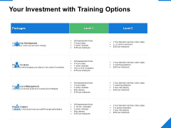 Your Investment With Training Options Ppt PowerPoint Presentation File Icons