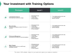 Your Investment With Training Options Ppt PowerPoint Presentation Portfolio Model