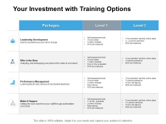 Your Investment With Training Options Ppt PowerPoint Presentation Summary Background Designs