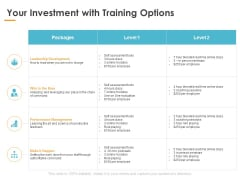 Your Investment With Training Options Ppt PowerPoint Presentation Summary