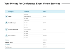 Your Pricing For Conference Event Venue Services Ppt PowerPoint Presentation Portfolio Graphics Pictures
