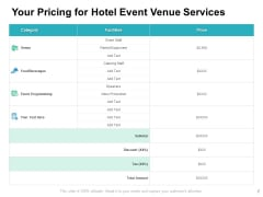 Your Pricing For Hotel Event Venue Services Ppt PowerPoint Presentation Inspiration Guidelines