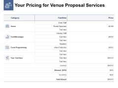 Your Pricing For Venue Proposal Services Ppt PowerPoint Presentation Gallery Guidelines
