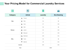 Your Pricing Model For Commercial Laundry Services Ppt PowerPoint Presentation Professional Rules