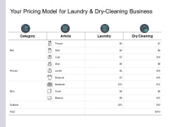 Your Pricing Model For Laundry And Dry Cleaning Business Ppt PowerPoint Presentation Styles Backgrounds