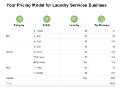 Your Pricing Model For Laundry Services Business Ppt PowerPoint Presentation File Good
