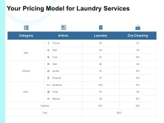 Your Pricing Model For Laundry Services Ppt PowerPoint Presentation Outline Picture